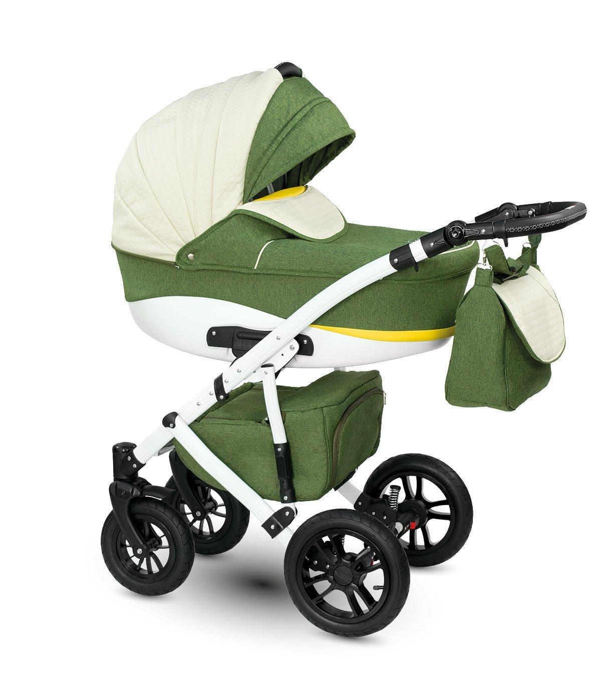 Lux4kids Cochecito 3 in 1 Silla de paseo + capazo + silla para coche + rutas giratorias neumática - giratorias Sirion beige & verde Si-4 con Isofix con ...