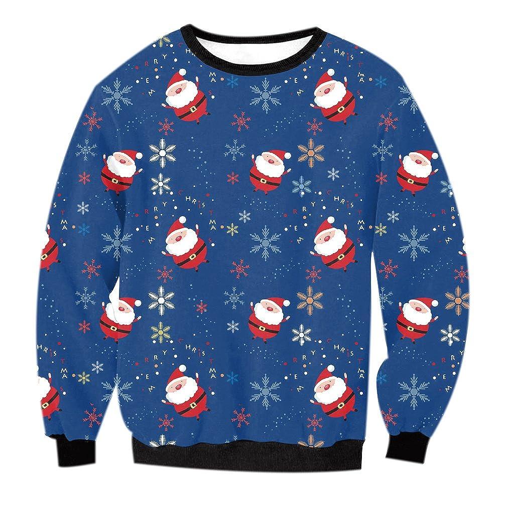 Fuxiang Sweatshirt Damen Weihnachten Rundhalsausschnitt Druck Weihnachtsmann Rentier Weihnachtsmotiv Pullover Wintermantel Damenmäntel Top Jumper