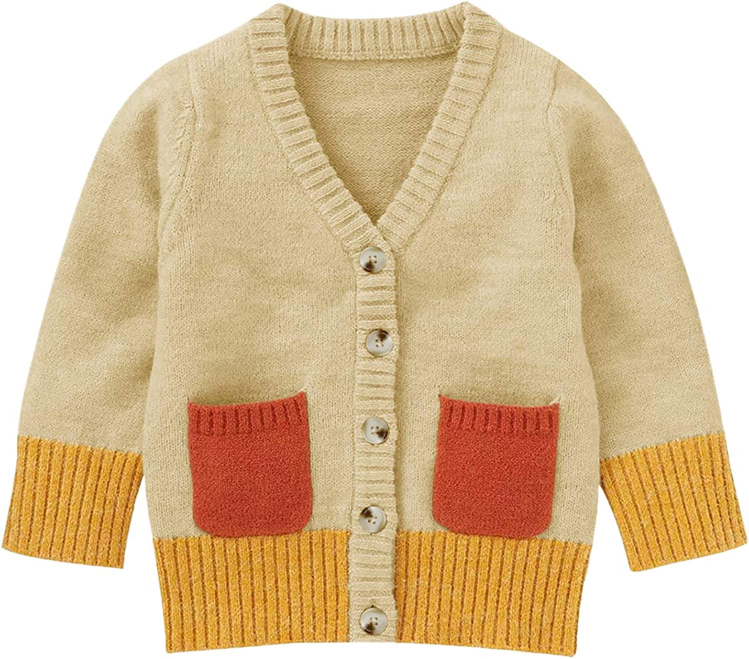Bbalizko Toddler Baby Boy Girl Knitted Sweater Striped Cardigan Long Sleeve Button Down Coat Fall Winter Outwear