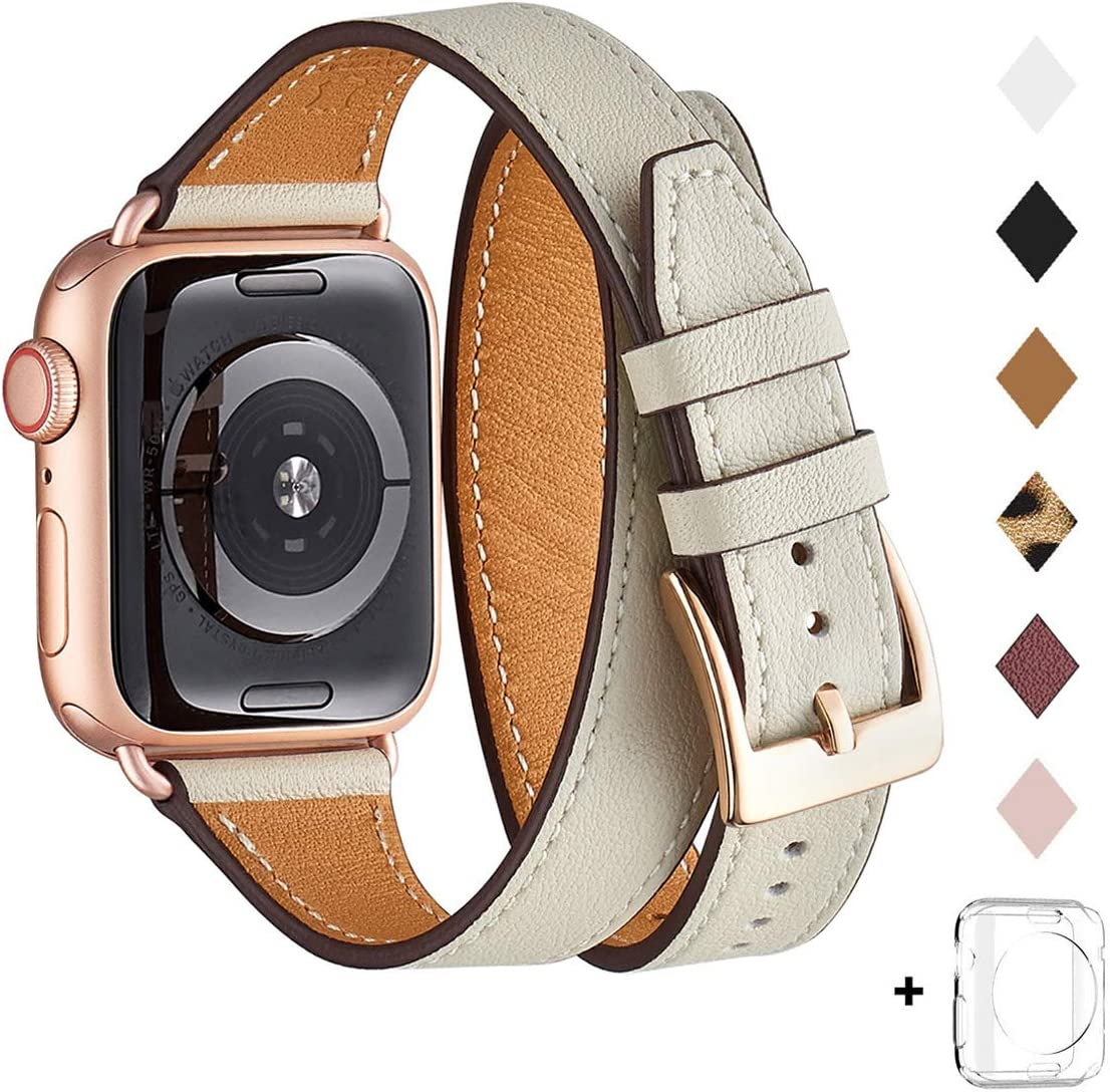 Bestig Band Compatible for Apple Watch 38mm 40mm 42mm 44mm, Genuine Leather Double Tour Designed Slim Replacement iwatch Strap for iWatch Series 5/4/3/2/1(Ivory White+Rosegold,42mm 44mm)