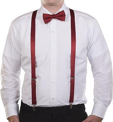 Agentle Mens Elastic Adjustable Trouser Braces Suspender Bow Tie Set Y Shape wit
