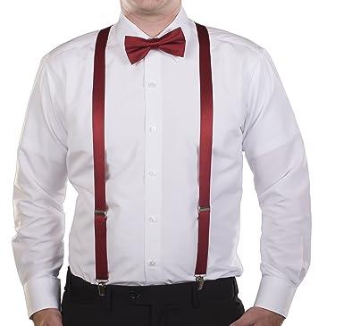 b700cfb1ee39 Satin Suspender and Bow Tie Set Combo in Men's & Kids Sizes (Dark Red,