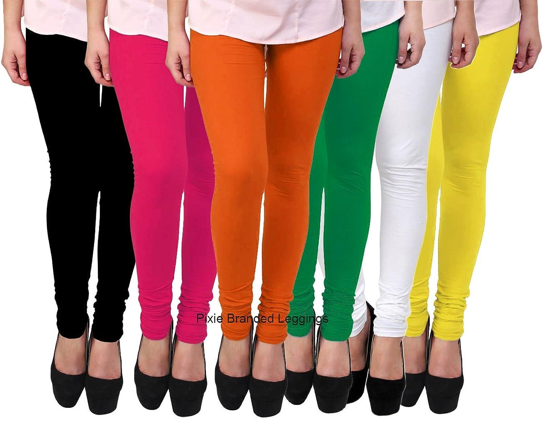 7ffa747b024911 designer leggings set for womens by pixie in combo (pack of 6) black,