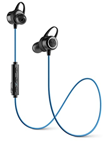Diginex Bluetooth Earbuds Wireless Magnetic Headset Sport Earphones for Running IPX7 Waterproof Headphones 9 Hours Playtime Stereo Sound Noise Cancelling Mic 1 Hour Recharge – Blue