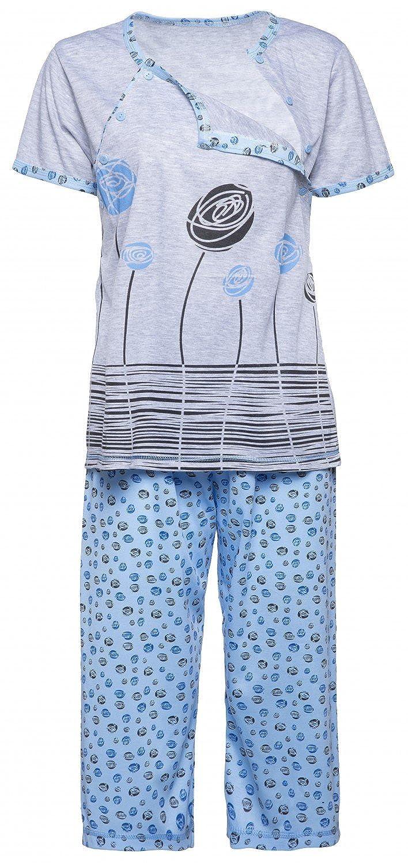 Happy Mama. Womens Maternity Top T-shirt Breastfeeding Pyjamas Crop Pants. 076p pregnight_076