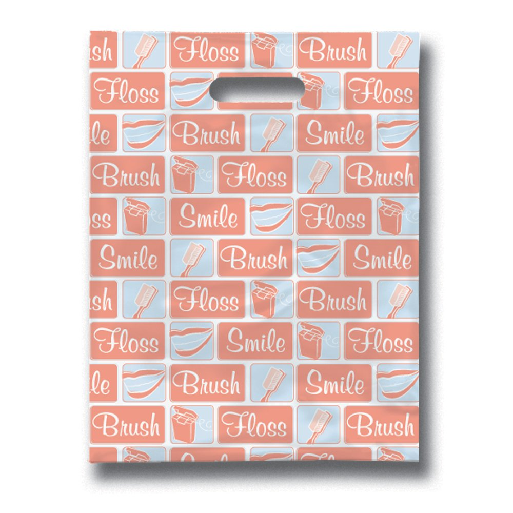 Practicon 11096118 Dental Building Blocks Scatter Print Patient Bags, 8'' x 10'' (Pack of 100)