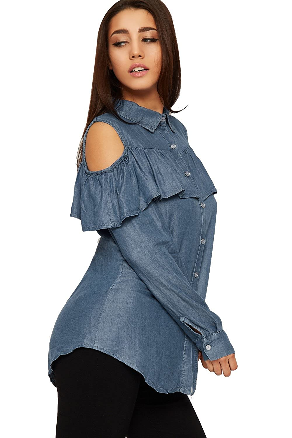 d583c9b0a91811 WearAll Women s Cut Out Cold Shoulder Denim Shirt Top Ladies Frill Long  Sleeve Button - Blue - 12-14  Amazon.co.uk  Clothing