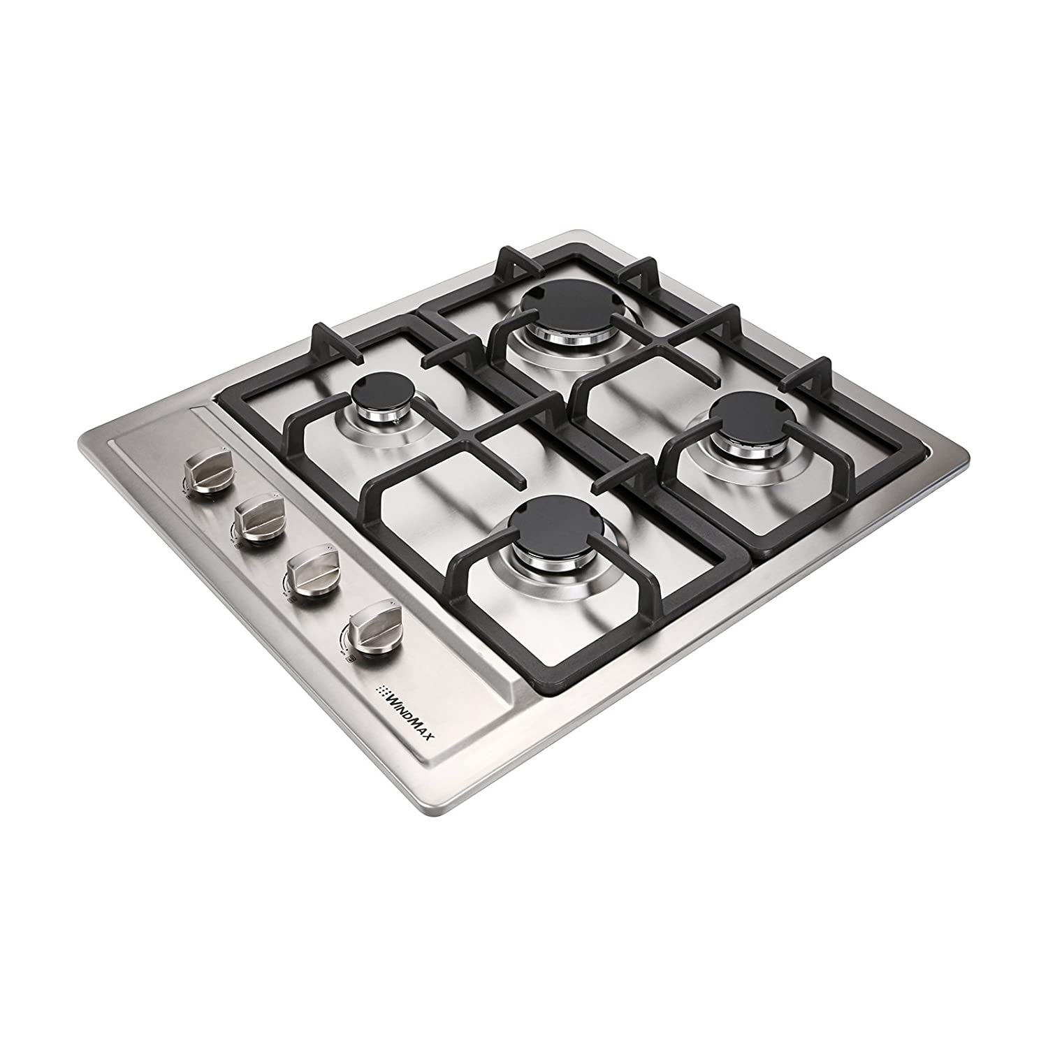 WindMax 60 cm Kitchen Stainless Steel 4 Burners Built-In Stoves NG/LPG Gas Hob Cooktop Cooker (60 cm) Generic