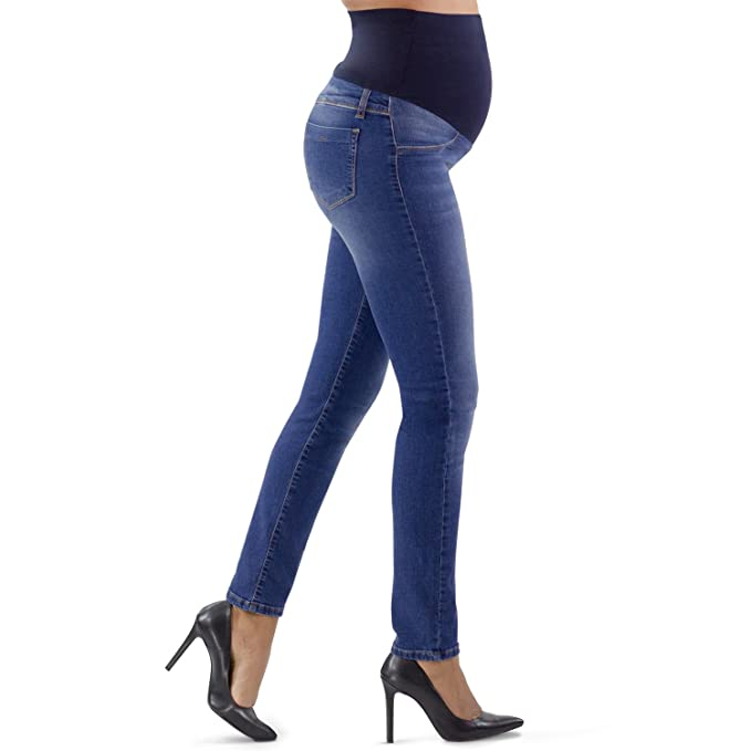 29a7cd64ab72 MAMAJEANS Jeans Premaman Slim Fit con Leggeri Difetti a Prezzo  Superscontato - Made in Italy (