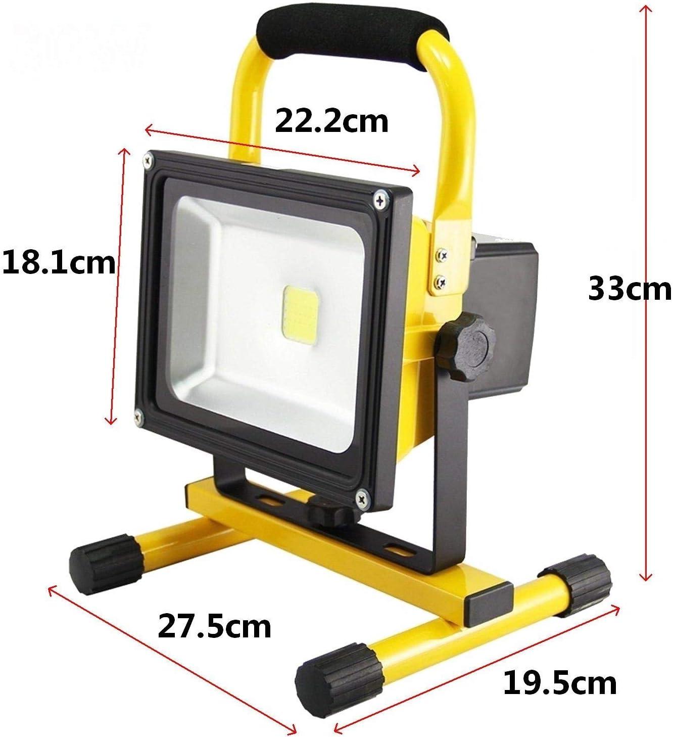 Froadp 10W Blanc Chaud Portable Rechargeable Projecteur LED Construction Spotlight Lampe de Travail Lumi/ère descalade /Éclairage de p/êche Jaune /Étanche IP65 pour Camping P/êche Patio Jardin