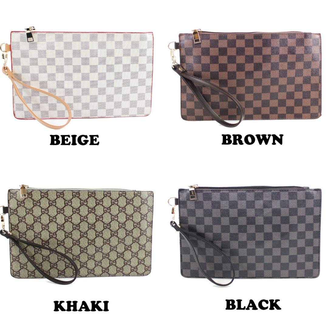 Ladies Faux Leather Check print Designer style evening clutch