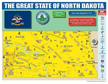 Amazon.com : Gallopade Publishing Group North Dakota State Map for ...
