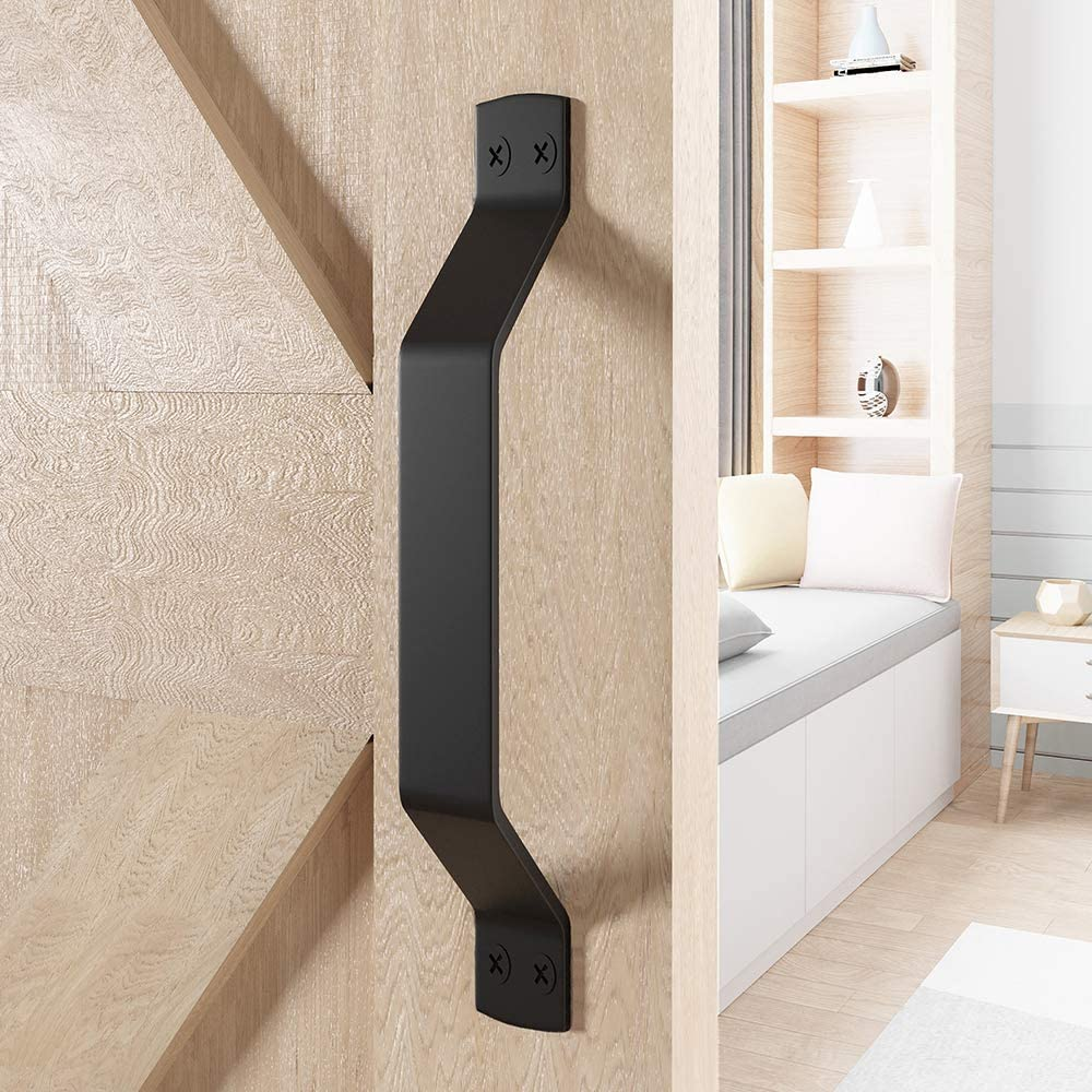 WINSOON Simple Sliding Barn Door Handle, Comfortable Handy Touch Gate Handle Pull Set, Premium Black Carbon Stainless Steel Body, Snugly Fits 9