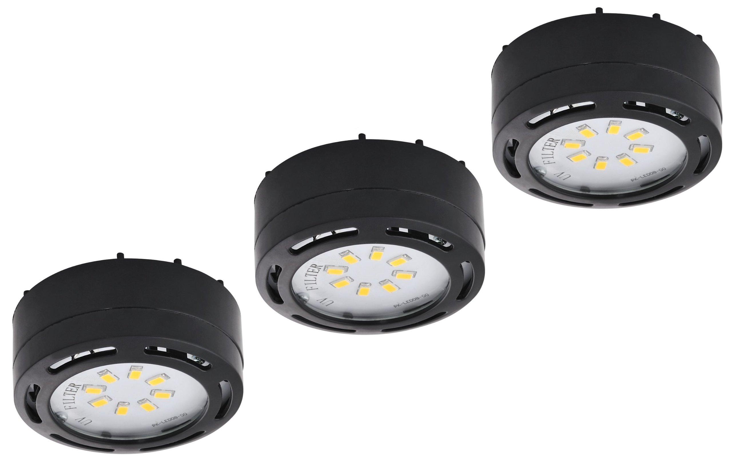 LEDP3120BK - 120V Direct LED Puck 3 Light Kit-Black