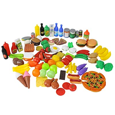 CatchStar Play Food for Kids Kitchen Durable Pretend Set Variety Accessories Plastic Gift Toys for Toddlers