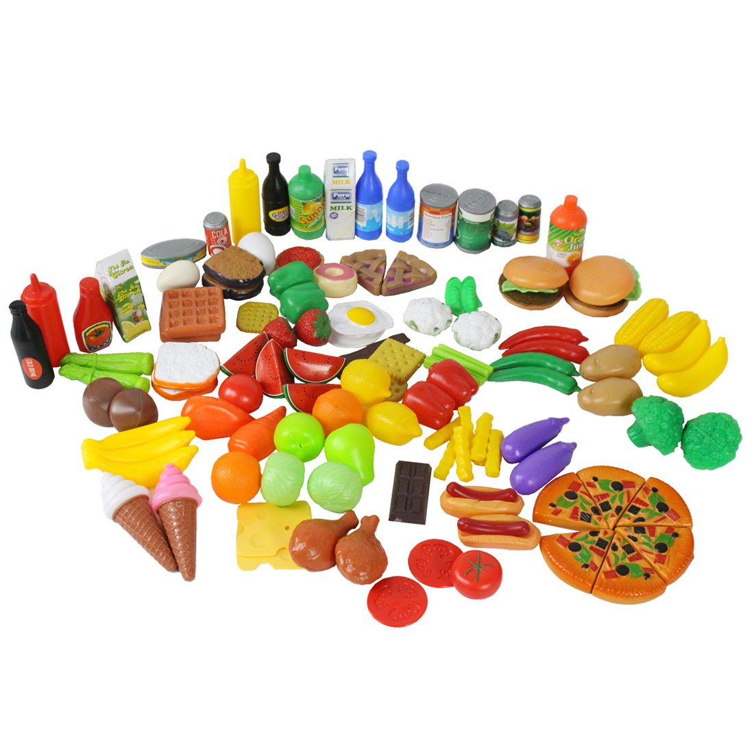 CatchStar Play Food for Kids Kitchen Durable Pretend Set Variety Accessories Plastic Gift Toys for Toddlers (120 Piece)