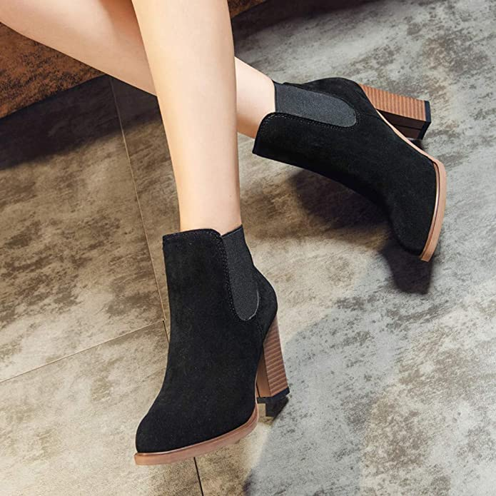 Amazon.com | HYIRI Square High Heel Ankle Booties, Autumn Winter Boots Abkle Knot Winter Shoes | Boots