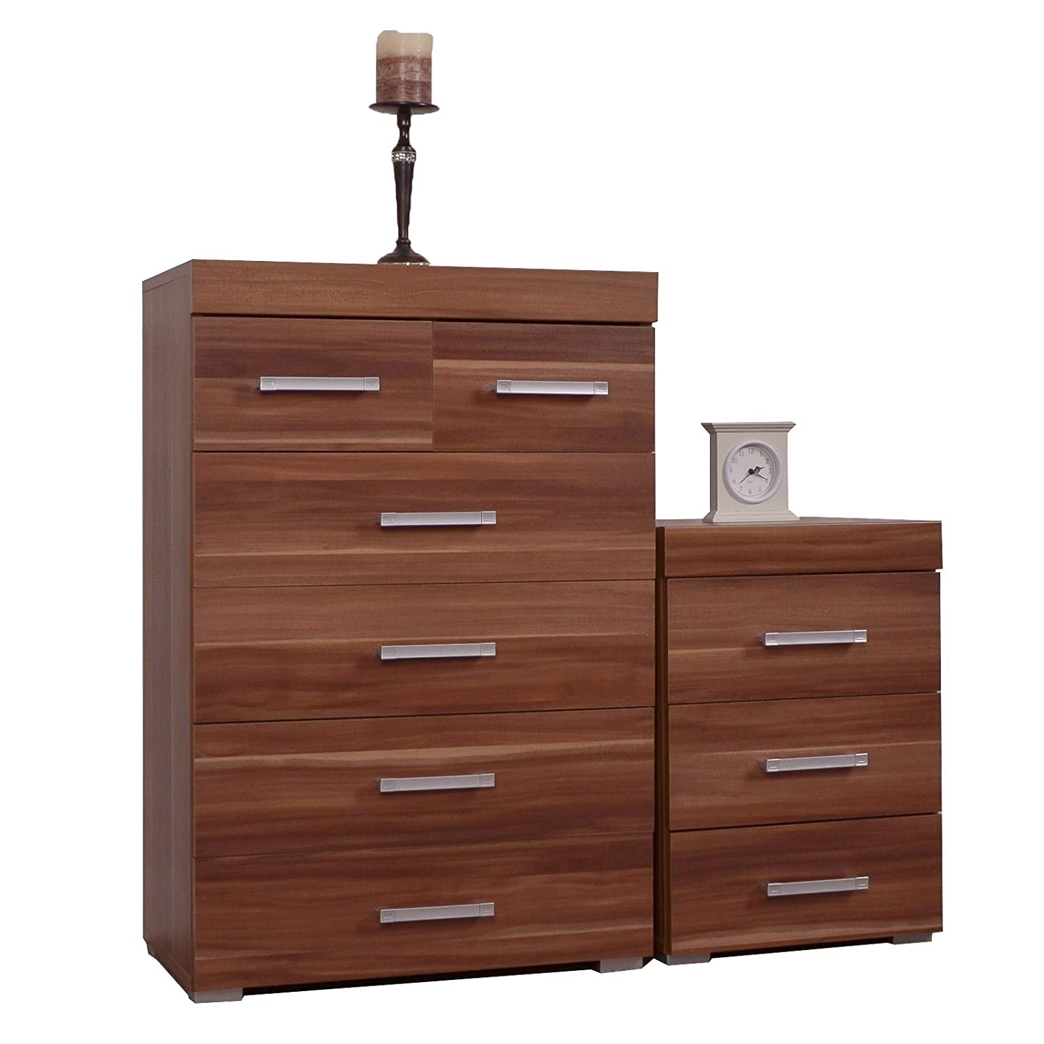 DP Walnut 4+2 Drawer Chest & 3 Draw Bedside Cabinet Bedroom Furniture