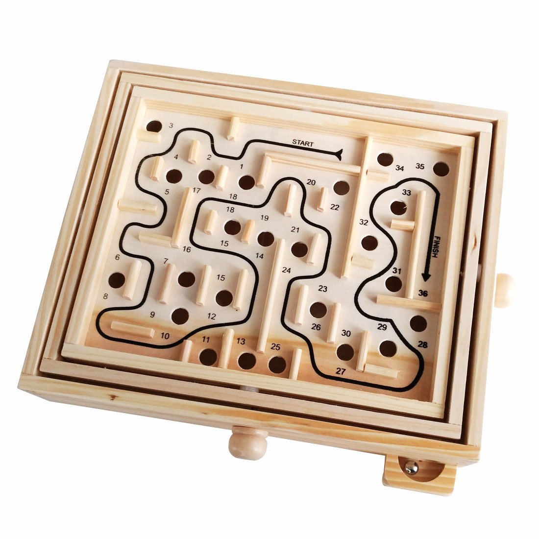 GARASANI Wood Labyrinth Game with 2 Metal Balls 36 Hole