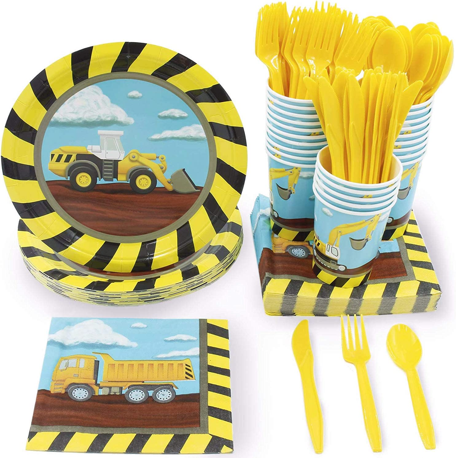 Construction Site Party Bundle, Includes Plates, Napkins, Cups and Cutlery (Serves 24, 144 Pieces)