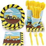Juvale Construction Party Supplies – Serves 24 – Includes Plates, Knives, Spoons, Forks, Cups and Napkins. Perfect Construction Birthday Party Pack for Kids Construction Themed Parties.