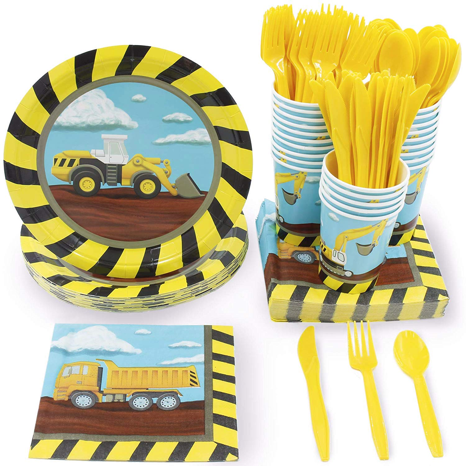 Juvale Kids Construction Birthday Party Supplies - Serves 24 - Includes Plates, Knives, Spoons, Forks, Cups and Napkins by Juvale