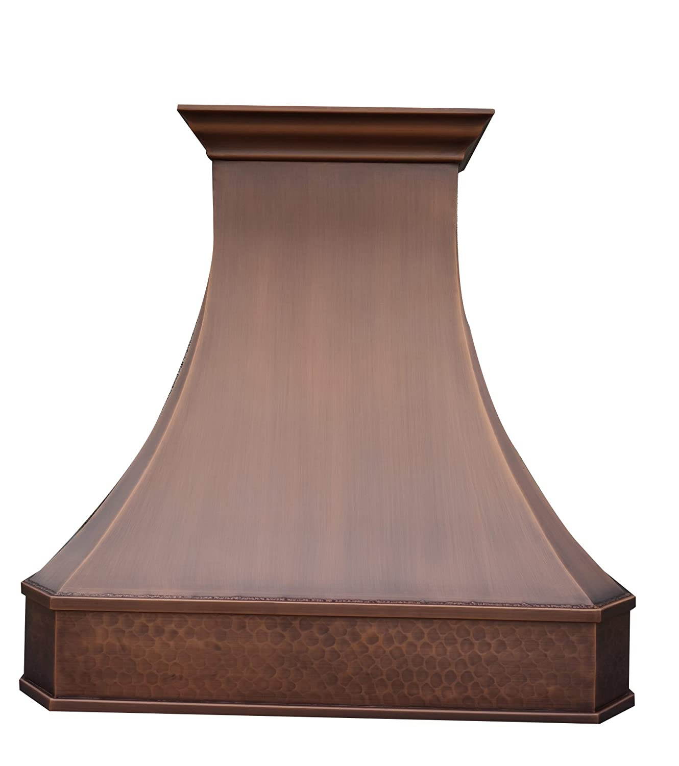 """Sinda Copper Range Hood with High Airflow Centrifugal Blower, Includes SUS 304 Liner and Baffle Filter, High CFM Vent Motor, Wall/Island/Ceiling Mount, Width 30,36,42,48 in (W30""""xH27"""" Wall)"""