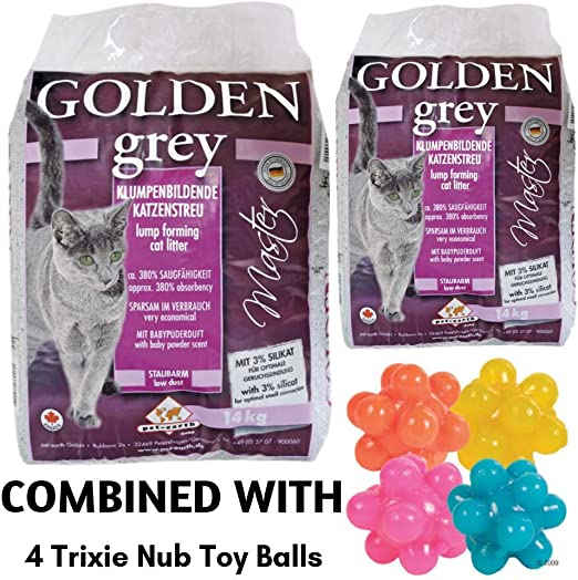 Golden Grey Master Clumping Arena para bebé en Polvo perfumado 28 kg Antibacteriano desechable e hipoalergénico con Control de Olor, fórmula Desodorante combinada con 4 Bolas de Juguete Trixie Nub: Amazon.es: Productos
