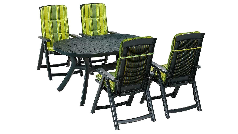 BEST Gartenmöbelset Kansas, 9-tgl., 4 Klappsessel, Tisch 145x95 cm, Kunststoff, grün grün