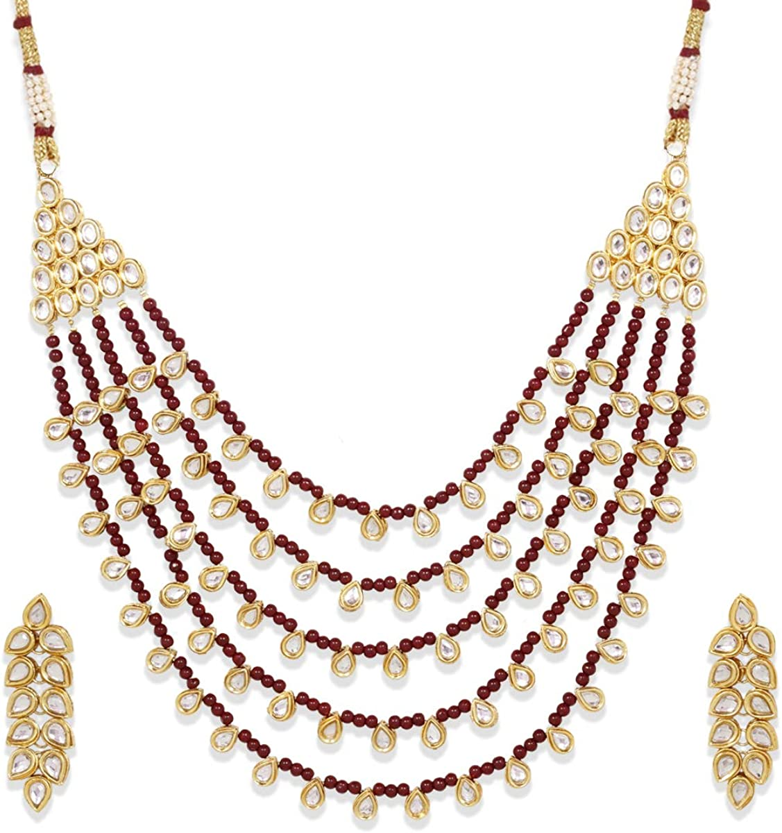 Maroon Pearl Ethnic Indian Traditional Gold Plated Wedding Party Wear Necklace Earrings Jewelry Set