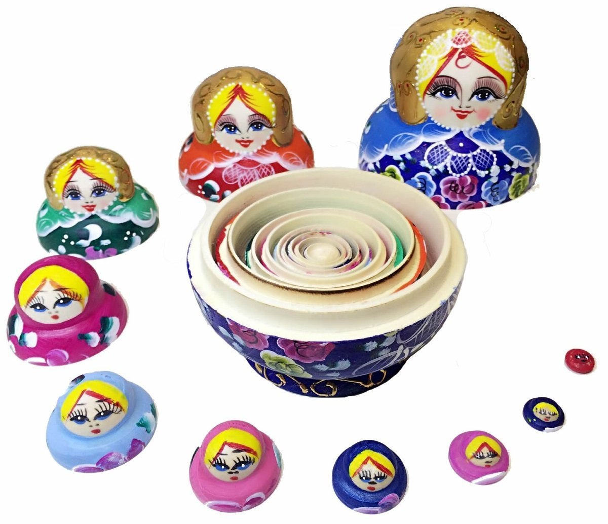 King&Light - 10pcs Peony Multicolor Russian Nesting Dolls Matryoshka Toys by K&L by LK (Image #5)