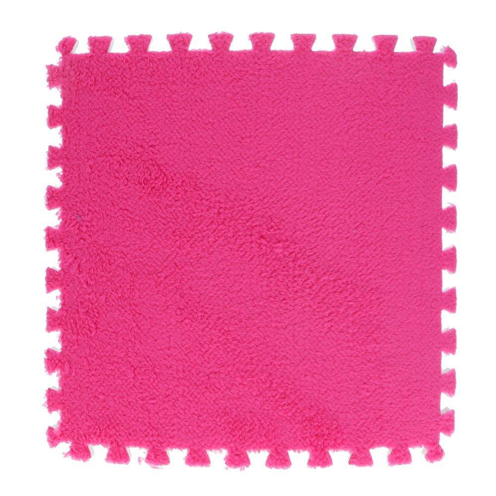 VANKER 10pcs Thickened Carpet Foam Mat Splicing Floor Mat Full Suede Baby Crawl Mat(rose red)