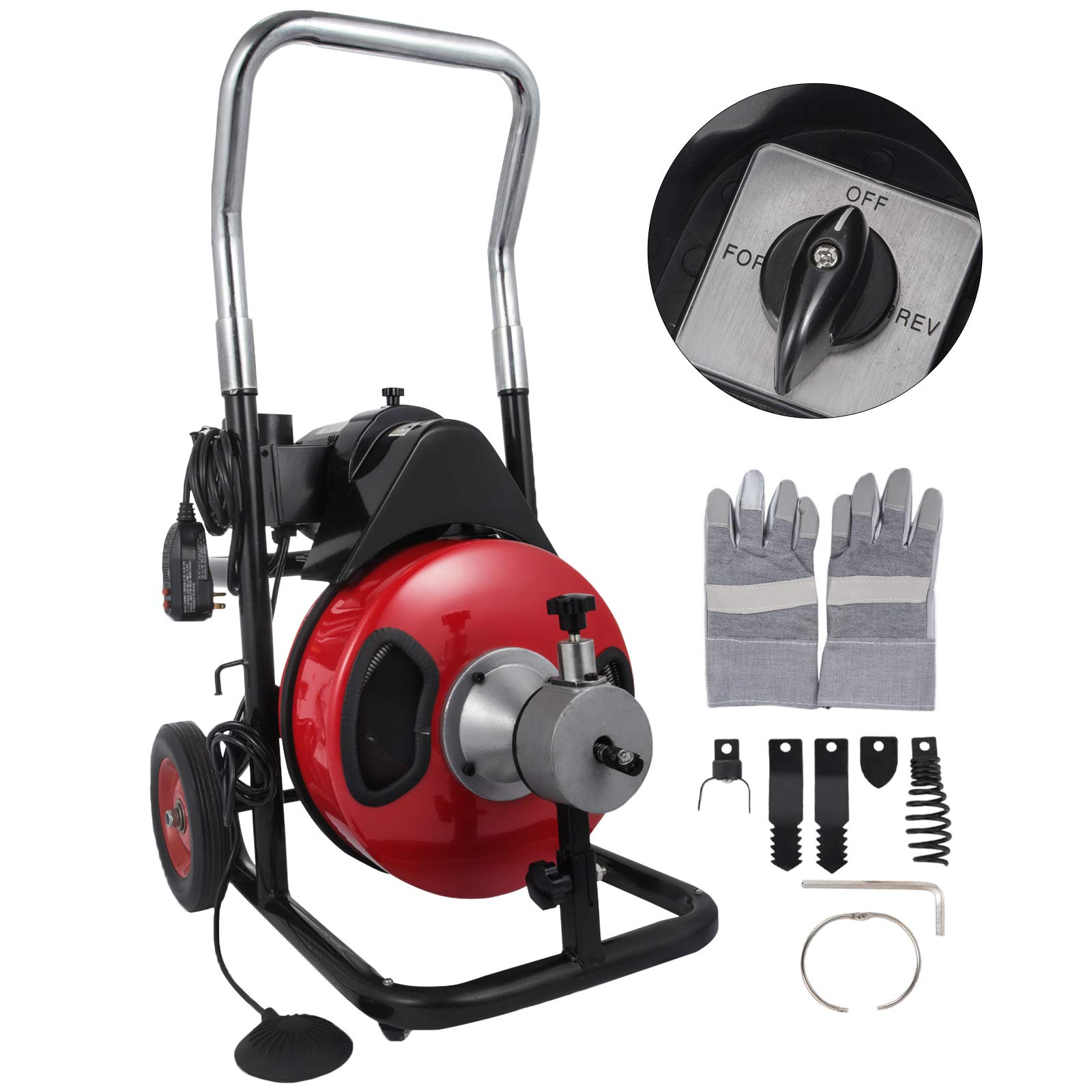 VEVOR 50 Feet by 1/2 Inch Electric Drain Auger with 4 Cutter & Foot Switch Drain Cleaner Machine Sewer Snake Drill Drain Auger Cleaner for 1'' to 4'' Pipes (50 Ft x 1/2 Inch with Wheel) by VEVOR