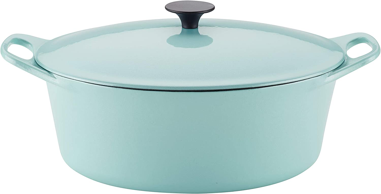 Rachael Ray 47874 6.5-Qt. Covered Cast Iron Dutch Oven, Quart, Light Blue Shimmer