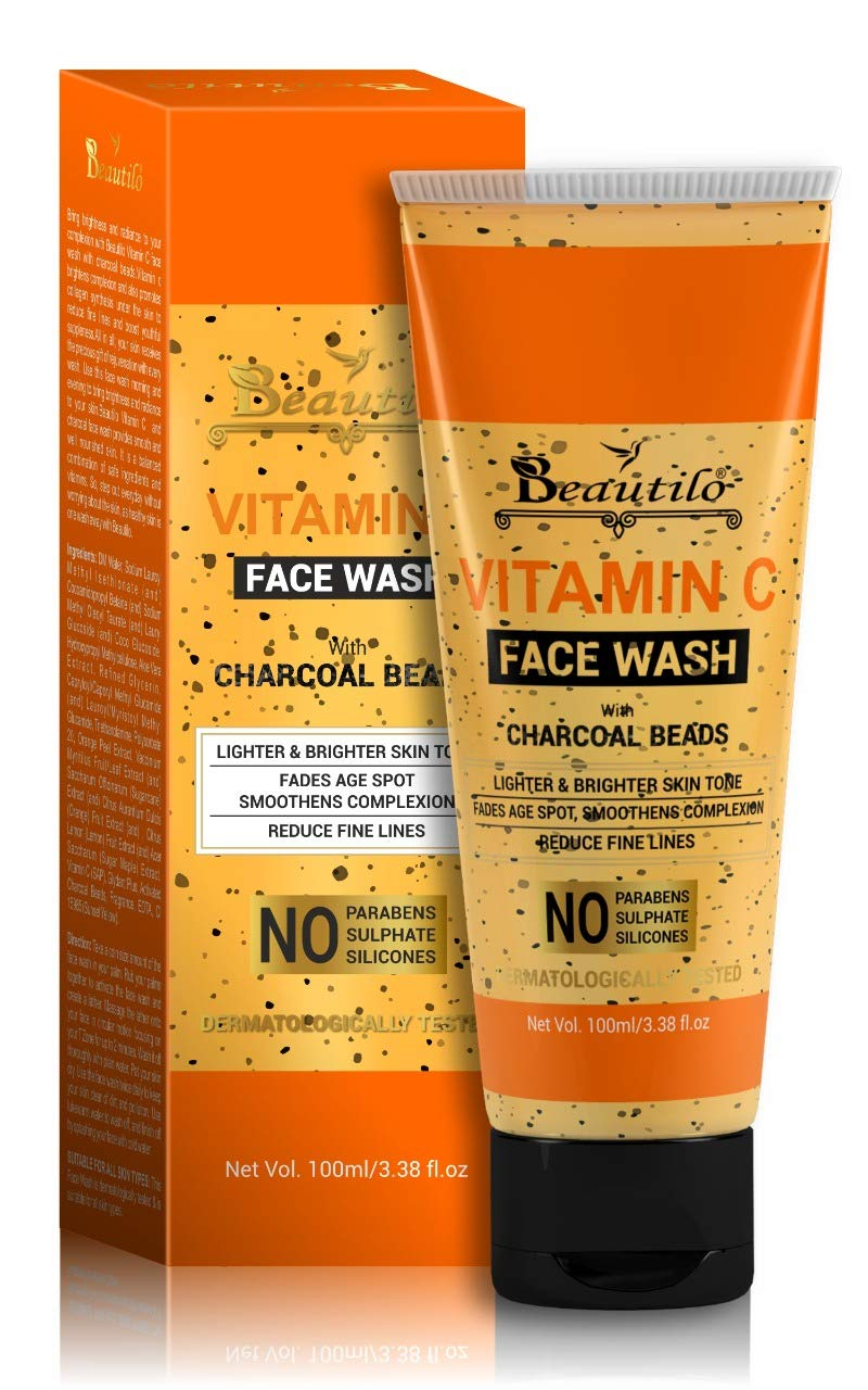 Beautilo Skin Brightening Vitamin C Face Wash With Charcoal Beads - No Parabens, Sulphate, Silicones, 100 ml