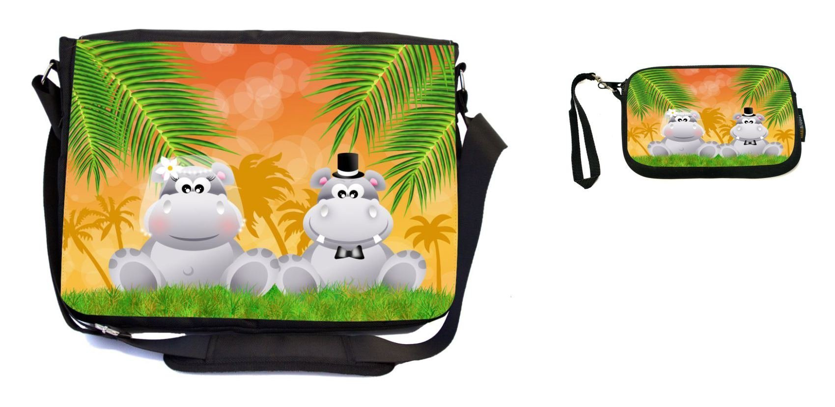 Rikki Knight Hippos in Love Wedding Illustration Design Messenger Bag - School Bag - Laptop Bag - with Padded Insert - Includes UKBK Premium Coin Purse