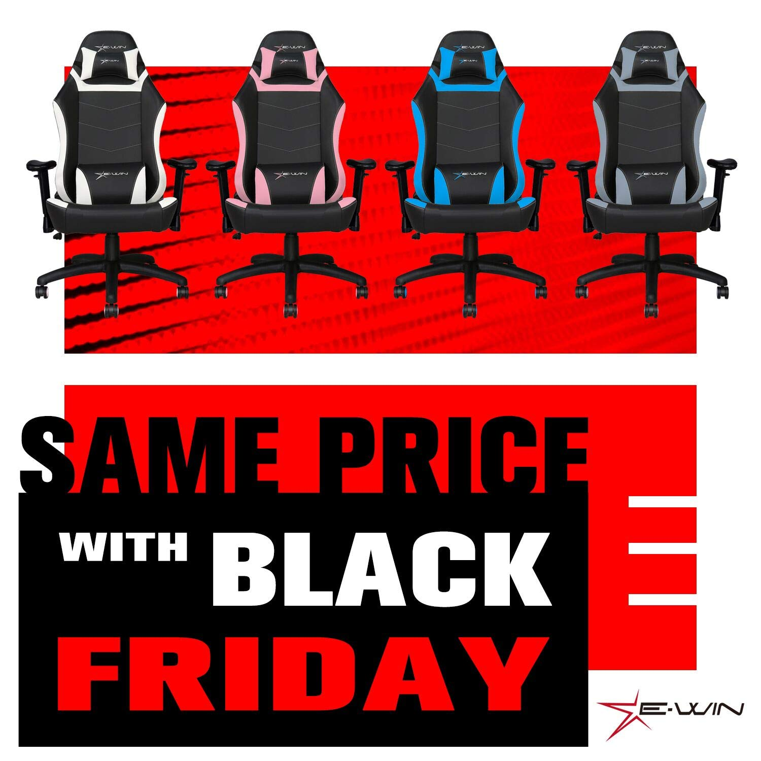E-WIN Gaming 400 lb Big and Tall Office Chair,Ergonomic Racing Style Design with Wide Seat High Back Adjustable Armrest,Black Gray