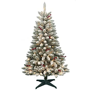 artificial christmas tree prelit 45 redwood pine flocked spruce christmas tree with stand and 200 - Artificial Christmas Trees Prelit
