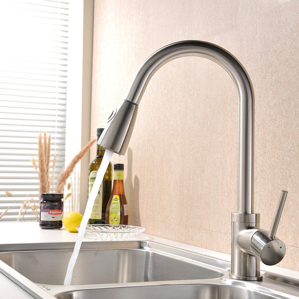 vapsint brushed steel single handle pull out down kitchen sink