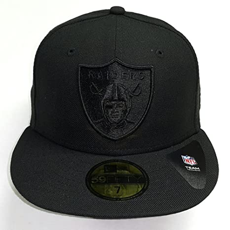 f0f46d5a7c109c New Era NFL Oakland Raiders All Black Shield Logo Fitted Cap 59Fifty NewEra  59Fifty: 7