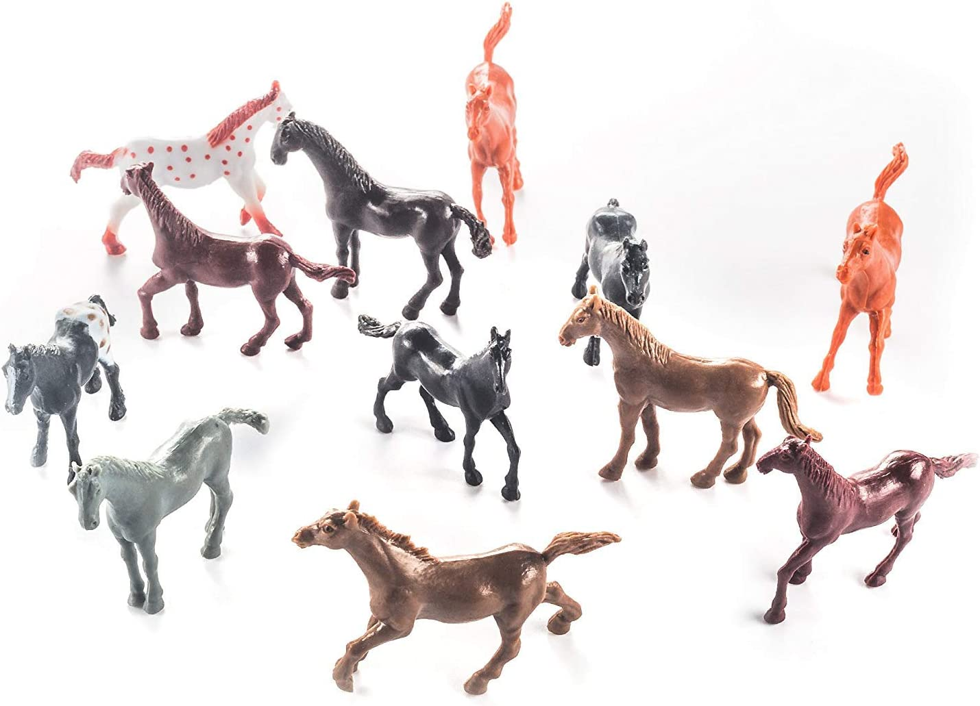 Fun Central 9 Pack - Mini Plastic Toy Horse Figures for Boys and Girls -  Assorted Styles