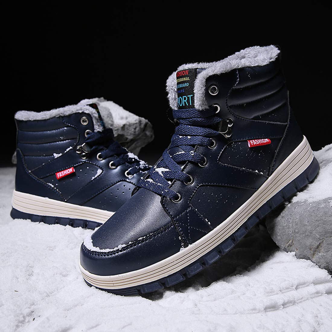 Ceyue Mens Leather Snow Boots Lace up Ankle Sneakers High Top Winter Warm Walking Shoes with Fur Lining(Blue 43) by Ceyue (Image #4)