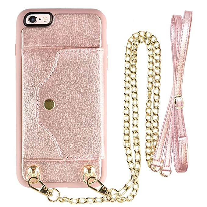 new style 7f8b8 44cae iPhone 6s Plus Wallet Case, LAMEEKU iPhone 6 Plus Case Leather with Credit  Card Holder Slot, Anti-Scratch Cover with Crossbody Chain Strap Wrist Strap  ...