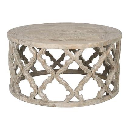 Round Wood Coffee Table.Amazon Com Benzara Bm176127 Round Wooden Coffee Table In Quatrefoil