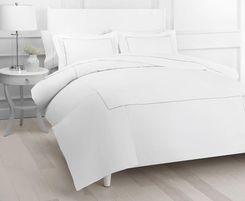 Melange Home Percale Cotton Single Stripe Embroidery Duvet Set, King, Grey on White