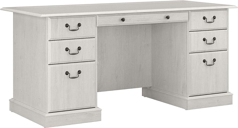 Bush Furniture Saratoga Executive Desk with Drawers, Linen White Oak