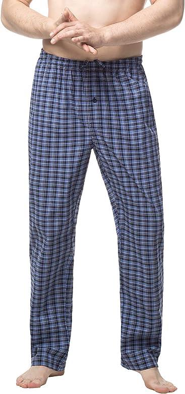 LAPASA PerfectSleep - Pijama de Algodón con Estampado Escocés para Hombre M38 (Negro y Azul, S (Cintura 71-76, Largo 106 cm)): Amazon.es: Ropa y accesorios