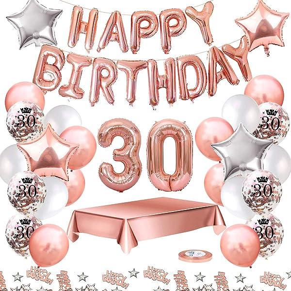 Howaf Decoración de cumpleaños 30 en Oro Rosa para Mujeres ...