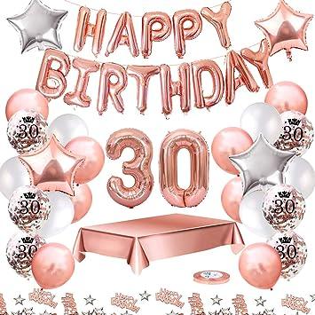 MMTX Globos De Cumpleaños 30 Años Feliz Cumpleaños Decoracion Regalo 18 Regalos Cumpleaños Mujer Oro Rosa con Guirnalda Banner De Cumpleaños para ...