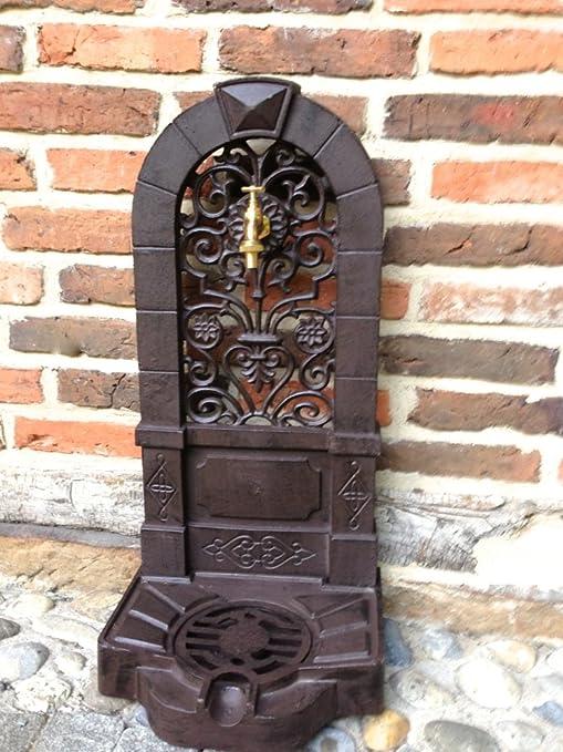 Antikas - Fuente Estilo Antiguo - Fuentes de jardín con Grifo de latón - Fuente de Aluminio Fundido: Amazon.es: Jardín